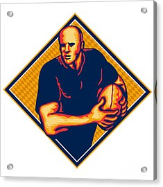Rugby Player Running Ball Retro Acrylic Print by Aloysius Patrimonio