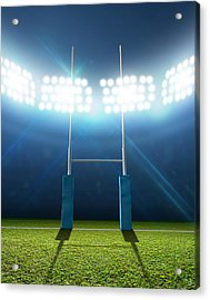 Rugby Stadium And Posts Acrylic Print by Allan Swart