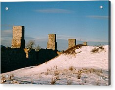 Ruins With Snow And Blue Sky Acrylic Print by David Fiske