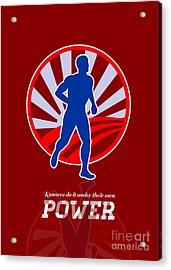 Runner Running Power Retro Poster Acrylic Print by Aloysius Patrimonio