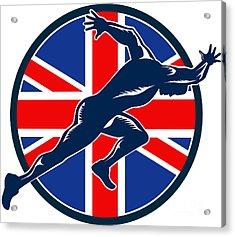 Runner Sprinter Start British Flag Circle Acrylic Print by Aloysius Patrimonio
