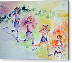 Running Toward The Marathon Acrylic Print by Sandy Ryan