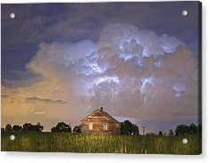 Rural Country Cabin Lightning Storm Acrylic Print by James BO  Insogna