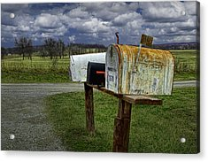 Rural Mailboxes Along A Country Road Acrylic Print by Randall Nyhof