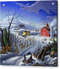 Rural Winter Country Farm Life Landscape - Square Format Acrylic Print by Walt Curlee