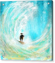 Rushing Beauty- Surfing Art Acrylic Print by Lourry Legarde