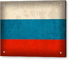 Russia Flag Distressed Vintage Finish Acrylic Print by Design Turnpike