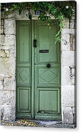 Rustic Green Door With Vines Acrylic Print by Georgia Fowler