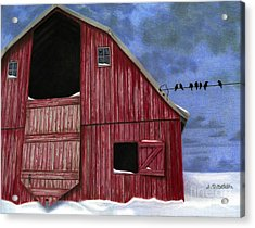 Rustic Red Barn In Winter Acrylic Print by Sarah Batalka
