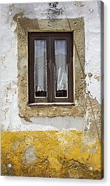Rustic Window Of Medieval Obidos Acrylic Print by David Letts