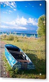 Rusty Blue Boat Acrylic Print by Sofia Walker