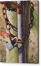Rusty Fence Gate Acrylic Print by Christopher Reid