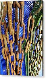 Rusty Metal Chains Acrylic Print by Sami Sarkis