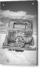 Rusty Old Car In The Snow Acrylic Print by Edward Fielding