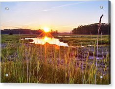 Rye Marsh Sunset Acrylic Print by Eric Gendron