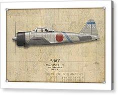Saburo Sakai A6m Zero - Map Background Acrylic Print by Craig Tinder