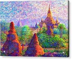 Bagan, Burma, Sacred Spires Acrylic Print by Jane Small