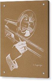 Sacred Trombone Acrylic Print by Karen  Loughridge KLArt