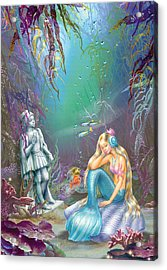 Sad Little Mermaid Acrylic Print by Zorina Baldescu