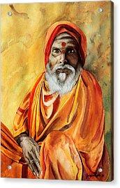 Sadhu Acrylic Print by Janet Pancho Gupta