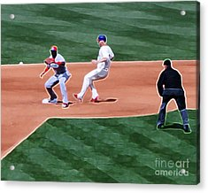 Safe At Second Base Acrylic Print by Terry Weaver