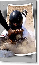 Safe At Third Acrylic Print by Jim Finch