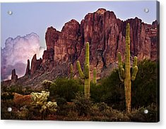 Saguaro Cactus And The Superstition Mountains Acrylic Print by Dave Dilli