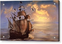 Sail Into My Dreams Vintage Acrylic Print by Georgiana Romanovna
