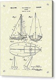 Sailboat 1948 Patent Art Acrylic Print by Prior Art Design
