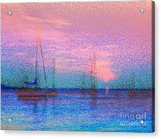 Sailboats At Sunset Acrylic Print by Jeff Breiman