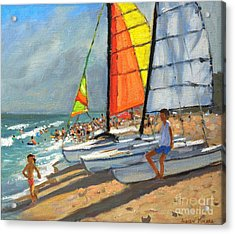 Sailboats Garrucha Spain  Acrylic Print by Andrew Macara