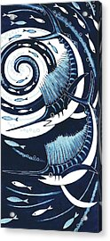 Sailfish, 2013 Woodcut Acrylic Print by Nat Morley