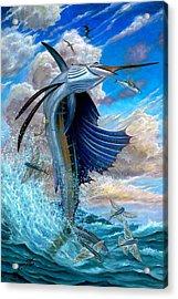Sailfish And Flying Fish Acrylic Print by Terry Fox