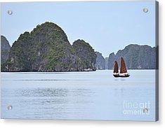Sailing Junk Boats In Halong Bay Acrylic Print by Sami Sarkis