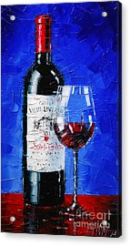 Still Life With Wine Bottle And Glass II Acrylic Print by Mona Edulesco