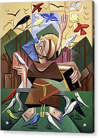 Saint Francis Sermon To The Birds Acrylic Print by Anthony Falbo