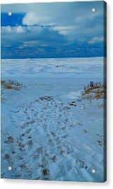 Saint Joseph Michigan Beach In Winter Acrylic Print by Dan Sproul