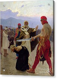 Saint Nicholas Of Myra Saves Three Innocents From Death Acrylic Print by Ilya Efimovich Repin