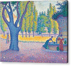 Saint-tropez Fontaine Des Lices Acrylic Print by Paul Signac