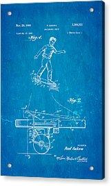 Sakwa Skateboard Brake Patent Art 1966 Blueprint Acrylic Print by Ian Monk