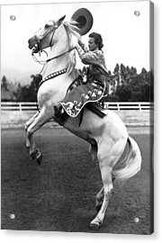 Salinas Rodeo Cowgirl Acrylic Print by Underwood Archives