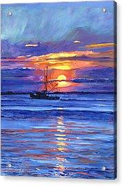 Salmon Trawler At Sunrise Acrylic Print by David Lloyd Glover