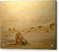 Saluky At Luxor Acrylic Print by Juan  Bosco