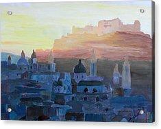 Salzburg At Dusk Acrylic Print by M Bleichner