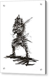Samurai Complete Armor Warrior Steel Silver Plate Japanese Painting Watercolor Ink G Acrylic Print by Mariusz Szmerdt