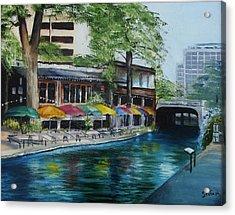 San Antonio Riverwalk Cafe Acrylic Print by Stefon Marc Brown