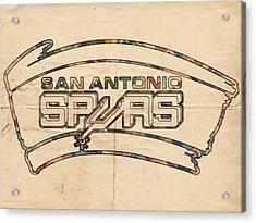 San Antonio Spurs Logo Vintage Acrylic Print by Florian Rodarte