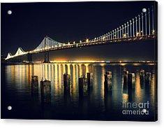 San Francisco Bay Bridge Illuminated Acrylic Print by Jennifer Ramirez