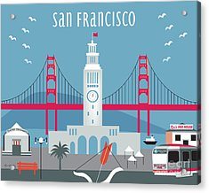 San Francisco Ferry Building Acrylic Print by Karen Young