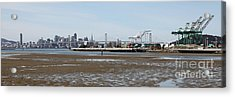 San Francisco Skyline And The Bay Bridge Through The Port Of Oakland 5d22238 Acrylic Print by Wingsdomain Art and Photography